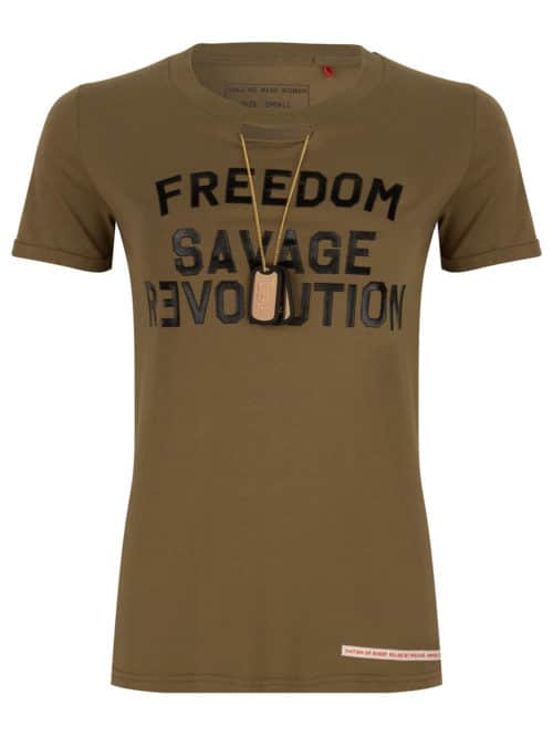 OKIMI TEE SHIRT OLIVE GREEN ONCE WE WERE WARRIORS