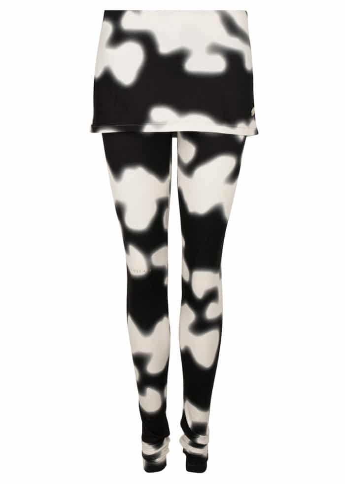 MINI SKIRT LEGGING WHITE BLACK CAMO PRINT