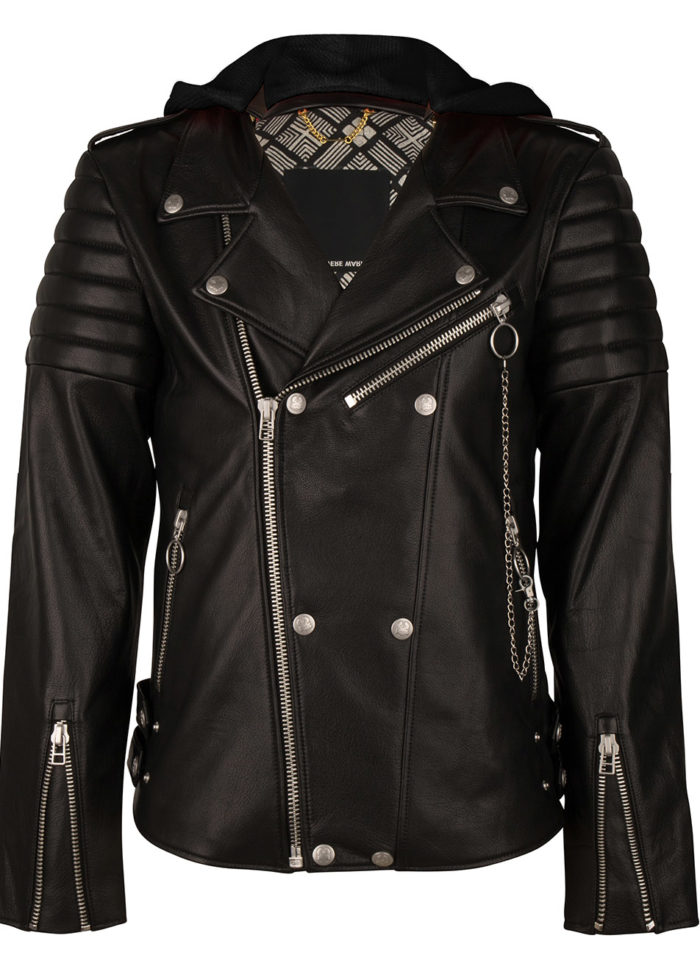 AKIRA BIKER LEATHER JACKET BLACK ONCE WE WERE WARRIORS