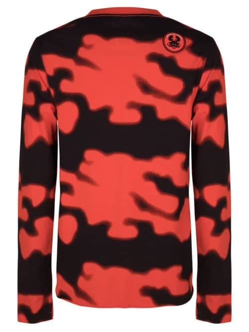 AMIKI LONG SLEEVE TEE CAMO PRINT RED ONCE WE WERE WARRIORS