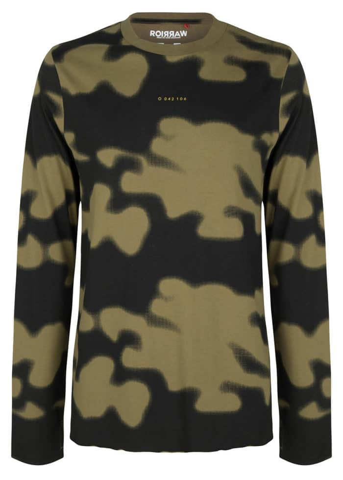 AMIKI LONG SLEEVE TEE CAMO PRINT OLIVE ONCE WE WERE WARRIORS