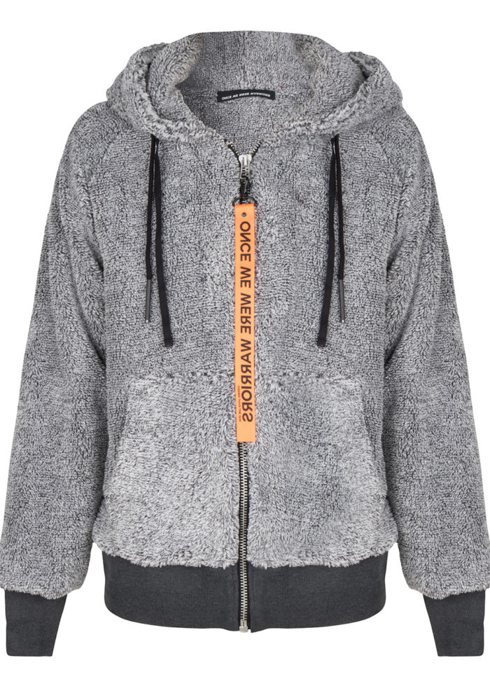 koru teddy zip hoodie grey melange once we were warriors